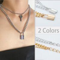Frauen PadLock Key 2-Lagen Edelstahl Rolo Kabel Halskette Freundschaftsgeschenke