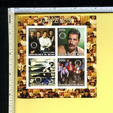Queen 2003 Republic of Du Benin Stamp Block #2; Rotary Int'l; non-perforated