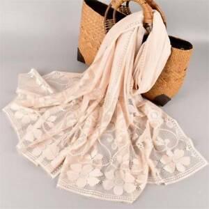 Women Long Scarf Sunscreen Scarves Stole Wrap Lace Flower Hijab Shawl Beach Soft