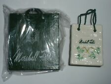 Vintage Marshall Fields Belleek Shopping Bag Ornament + MF Shopping Bag