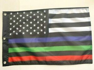 """USA Thin Red, Blue & Green Line 12""""x18"""" Flag Grommets Police Fire Military"""