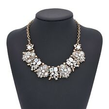NEW ZARA BEAUTIFUL WHITE CLEAR STONES GOLD NECKLACE - NEW