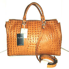 $395 CLAUDIA Firenze Made In Italy Large Croc Leather XL Tote, Cognac Brown NWT
