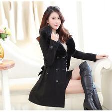 New Women's Winter Coat Long Wool Jacket Fur Collar Slim Outwear Trench coat
