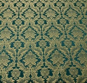 Lithuanian Luxury Damask Designer Brocade in Teal | Curtain Upholstery Fabric