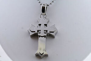 "Black & Blue Stainless .04ctw Genuine Diamond 3"" x 1.25"" Gothic Cross Necklace"