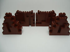 Lego Castle - 4 x Brown Rock Fortress Wall Panels -  6082 & 6083 - RARE