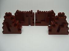 lego castle - 4 x braun felsen festung wandplatten - 6082 & 6083-selten