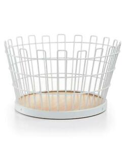 Martha Stewart White Metal And Beechwood Small Wire Basket