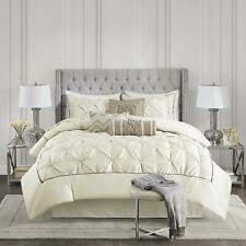 Beautiful Elegant Chic Cream Ivory White Satin Silk Ruffle Tufted Comforter Set