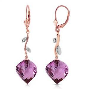 Amethyst & Diamond Earrings In 14K Rose Gold (21.52 ct. tw