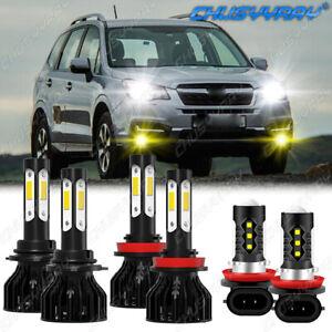 For Subaru Forester 2014-2019 - 6x LED Headlight High&Low Beam + Fog Light Kit