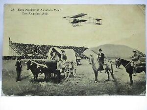 1910 MEEKER OREGON TRAIL MONUMENT EXPO POSTCARD AVIATION MEET LOS ANGELES, PLANE