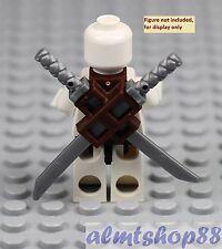 LEGO -  Dark Brown Scabbard w/ 2 Silver Katana Swords Blade Knife Weapon Persia
