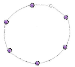 14K White Gold Anklet Bracelet With Purple Amethyst Gemstones 9 Inches