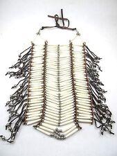 White Bone BreastPlate Regalia Jewelry Pow Wow Choker 40 Row Bone & Leather