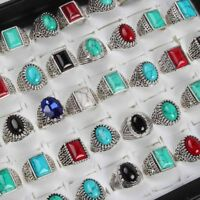 Wholesale 50pcs Lots Mix Fashion Bohemian Silver Turquoise Vintage Ring Jewelry
