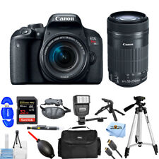 Canon EOS Rebel T7i DSLR Camera with 18-55mm + 55-250mm Lens PRO BUNDLE NEW