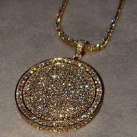 White Diamond Circle Pendant 10k Solid Yellow Real Gold Round Cut 2.00 Carat