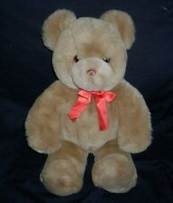 "16"" Big Vintage Gund Baby Brown Teddy Bear Stuffed Animal Plush Toy Red Bow"