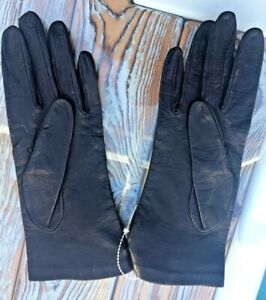 Ladies Black Leather Gloves Harrods - Made in Italy.  Size 7.  Lining 100% silk