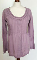 FAT FACE Ladies Lilac Purple Peasant Long Sleeve Tunic Shirt Blouse Size UK 8