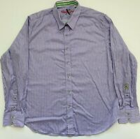 Robert Graham X Tailored Fit Mens Purple Striped Long Sleeve Button Down 2XL