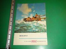 JD834 Vintage Menu British Overseas Airways Corporation Airplane Surfboat Racing