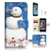 ( For iPhone 7 ) Wallet Case Cover P3499 Snowman