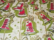 Vtg Christmas Wrapping Paper Gift Wrap Nos 1960 Gold Green Red Ringing Bells