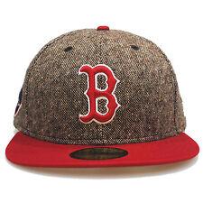 New Era 59fifty BOSTON REDSOX Tweed ESCUDO Marrón Rojo 5950 Gorra Ajustada 7 1/8