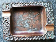 Copper Ashtray with Cast Map-CYPRUS-THE ISLAND OF VENUS,Made JAPAN.10X13cm/W-90g