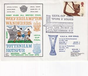 17 MAY 1972 WOLVERHAMPTON W v TOTTENHAM H UEFA CUP FINAL FLOWN FOOTBALL COVER s