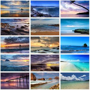 Seascape Beach Background Cloth Photography Backdrop Prints Decor Blue Sky & Sea
