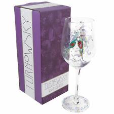 Beautiful Single Wine Glass, Silver Moon Parrot Design Gift Birthday Romantic Gi