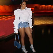 Women Long Sleeves Ruffled Casual Club Party White Short Shirts Blouses Tops