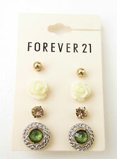 Stud Earrings Set 4 Pairs Silver White Rose Rose Gold Vintage Style Boho B74