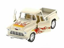 Kinsmart 1955 Chevrolet Stepside Pickup w/ Flames 1:32 Diecast Toy Truck Cream