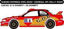 DECALS 1/43 SUBARU IMPREZA WRC - #8 - DOHERTY - RALLYE DONEGAL INT 2009 - D43177