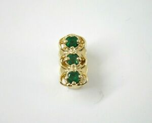 14k Yellow Gold OMG Emerald and Diamond Slide Bracelet Marquis Shaped Charm