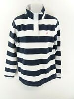 CREW CLOTHING Womens Jumper Sweater 12 White Blue Stripes Cotton 1/4 Zip