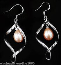 Genuine 9-10MM  Silver Freshwater Pink Akoya Pearl Drop/Dangle Earring