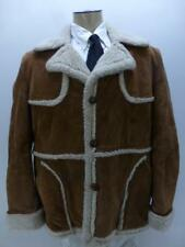 Vtg Wellington Shearling leather Marlboro rancher sherpa winter Coat mens 46 R
