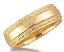 10K YELLOW GOLD MENS WEDDING BANDS RINGS SHINY MILGRAIN 7MM