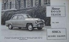 1956 Simca Elysee saloon Original Autocar magazine Road test