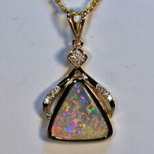 Solid Lightning Ridge Natural Opal 18k yellow gold & diamond pendant (15555)
