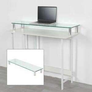 Large Clear Twin Monitor Riser Stand For TV PC DVD Double Screen Desk