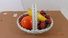 Vintage Italy Capodimonte Basket Of Fruit Hand Painted Ceramic
