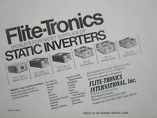 9/1977 PUB FLITE-TRONICS STATIC INVERTER MILITARY COMMERCIAL AIRCRAFT AVION AD