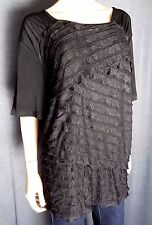 Maggie Barners Women's Short Sleeve Top Sz. 3X ~ Black ~ NWT ~ $54